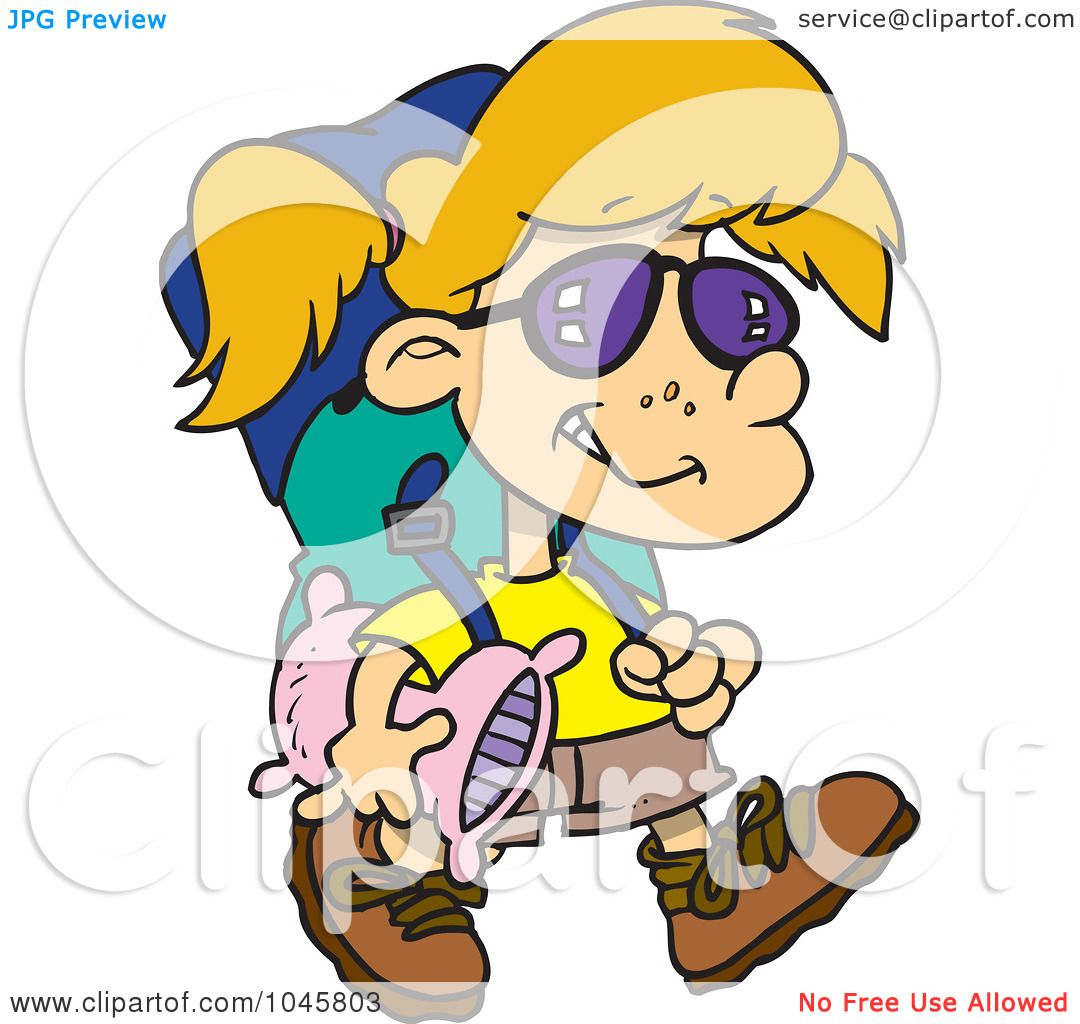 1080x1024 Royalty Free (Rf) Clip Art Illustration Of A Cartoon Camper Girl