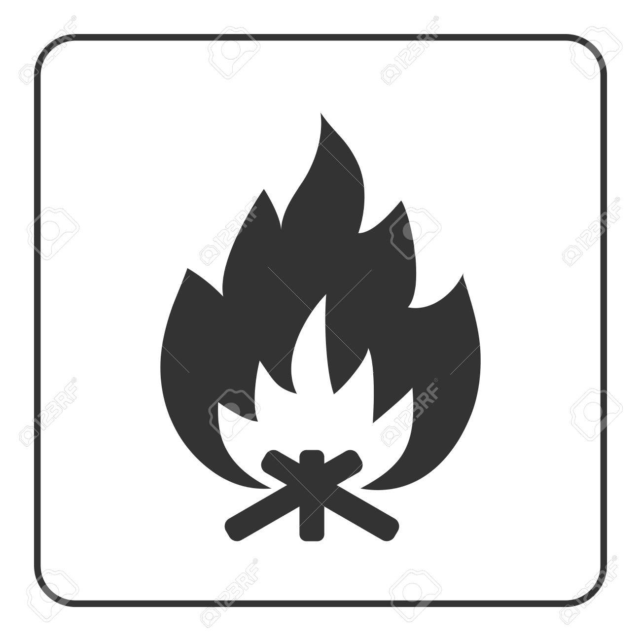 1300x1300 Fire Campfire Icon. Hot Bonfire Sign. Black Firewood And Flame