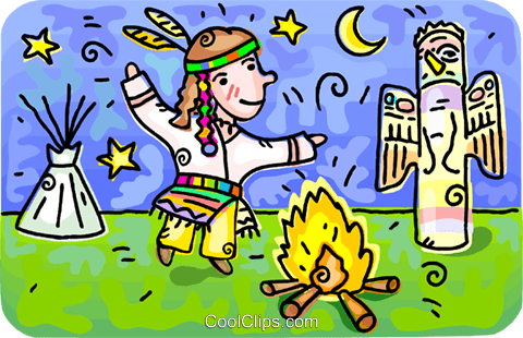 480x310 Native Indian Dancing Around A Campfire Royalty Free Vector Clip