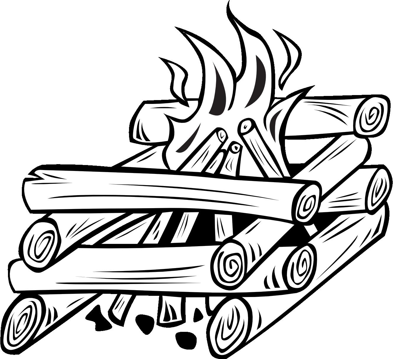 1331x1216 Black Amp White Clipart Campfire