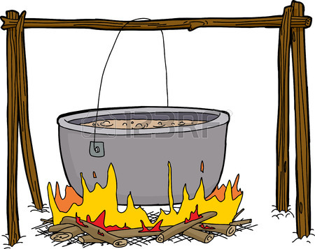 450x357 Cartoon Of Large Pot With Soup Boiling Over Campfire Royalty Free