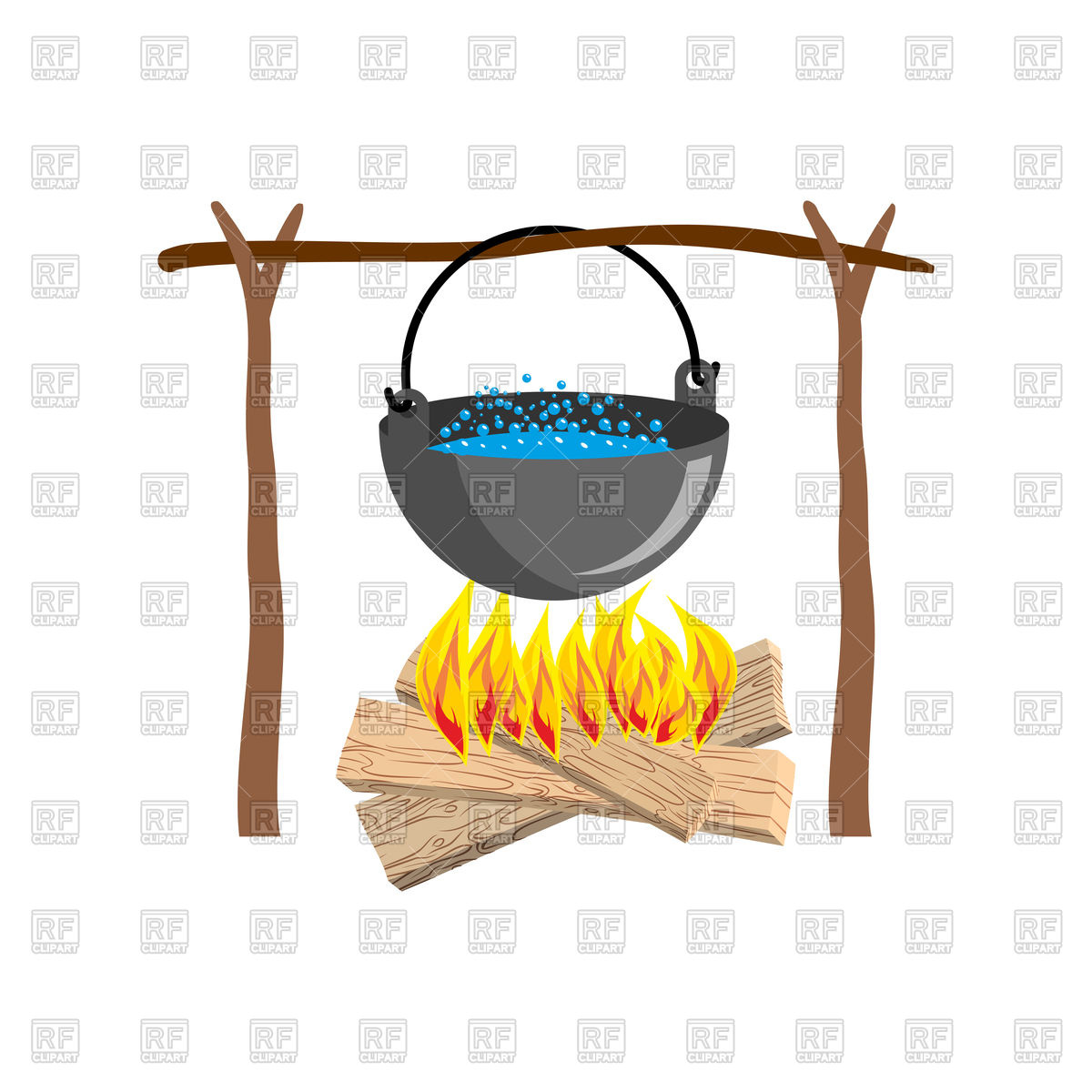 1200x1200 Boiler With Campfire Place Royalty Free Vector Clip Art Image
