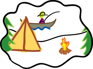 299x222 Camping By Fire Clip Art