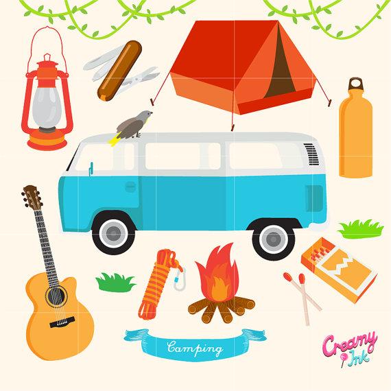 570x570 Camping Digital Vector Clip Art Outdoor Activity Digital Clipart