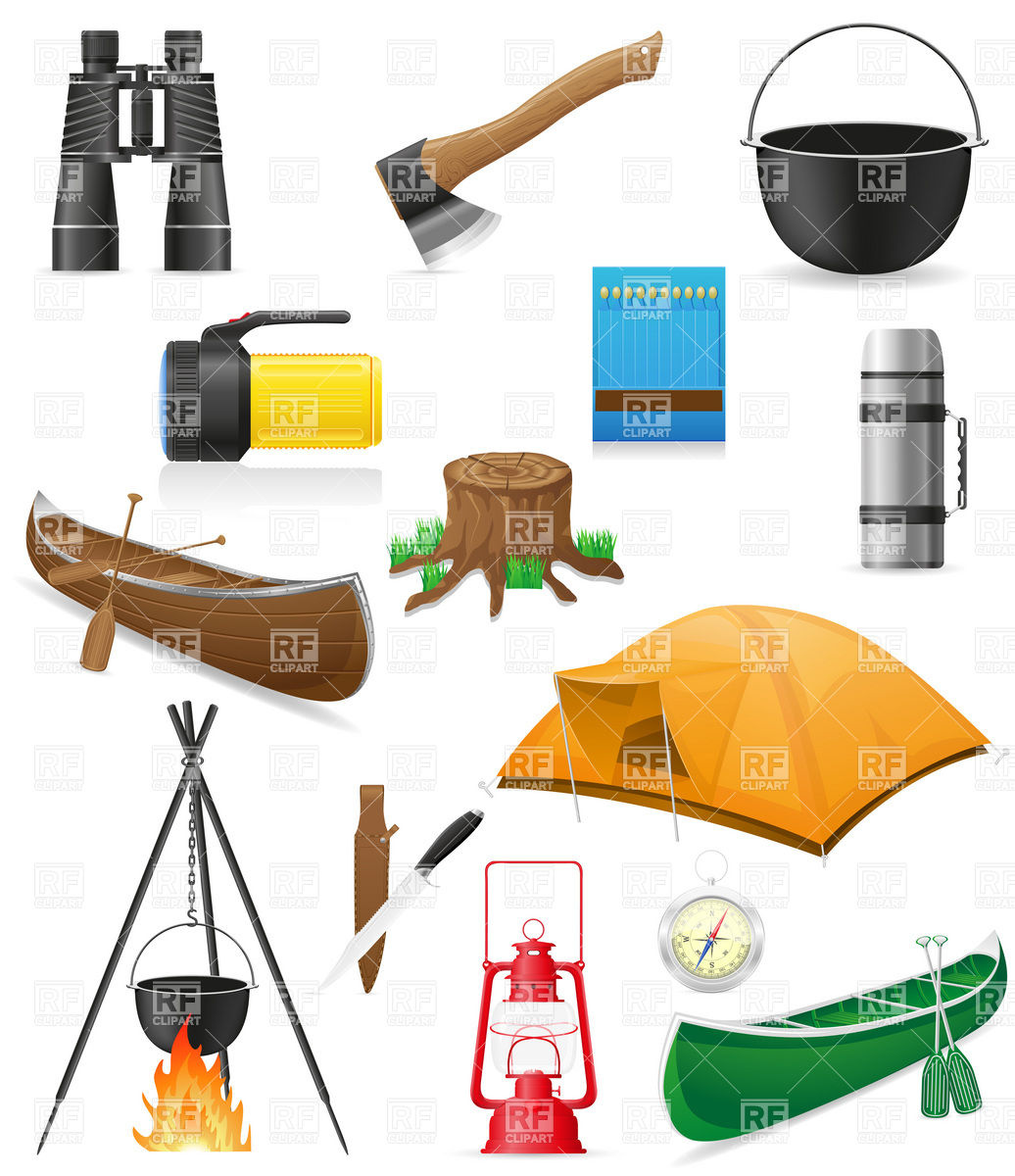 1036x1200 Camping Equipment And Outdoor Hiking Objects Royalty Free Vector
