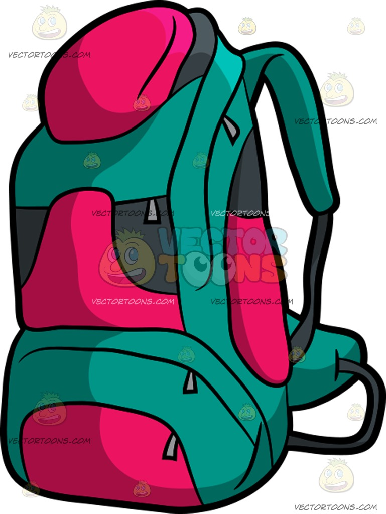 769x1024 Camping Backpack Cartoon Clipart