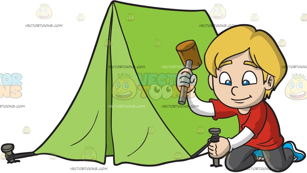 1024x580 A Boy Using A Hammer To Nail His Tent Into The Ground Cartoon