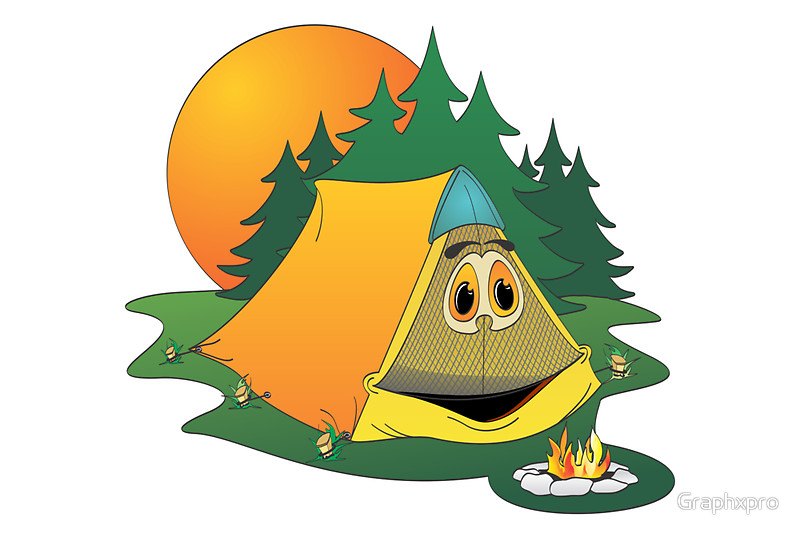 800x534 Cartoon Camping Tent Canvas Prints By Graphxpro Redbubble