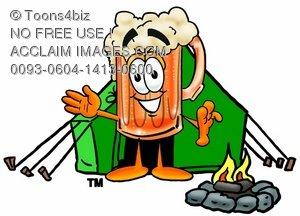 300x216 Clipart Image Of A Cartoon Beer Mug Character Camping