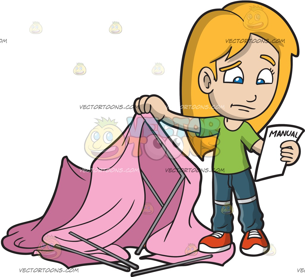 1024x933 A Clueless Girl Trying To Assemble A Camping Tent Cartoon Clipart