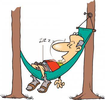 350x334 Hammock Camping Cartoon Clipart