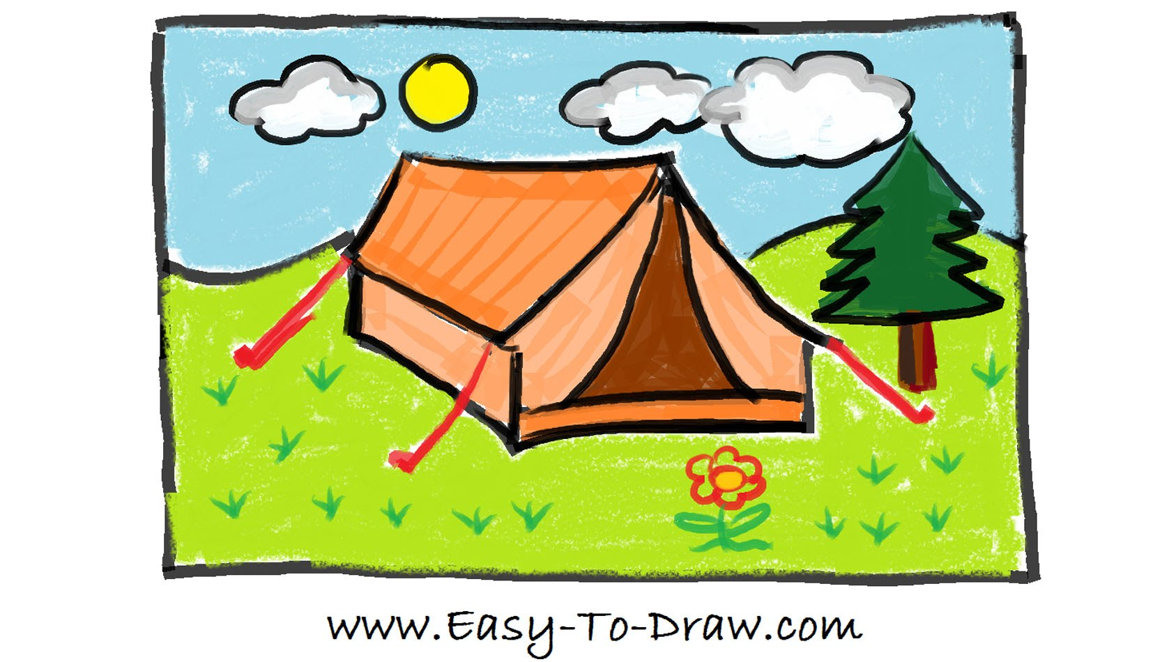 1687x950 How To Draw A Cartoon Tent In Campground (Camping Place)