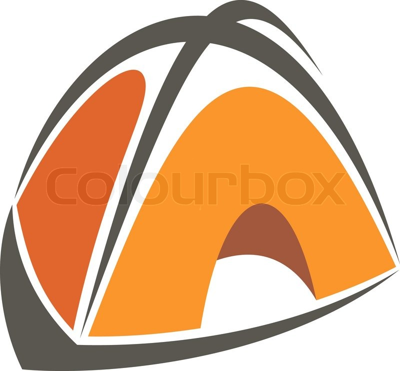 800x741 Orange Cartoon Illustration Of A Tent For Camping And Exploring