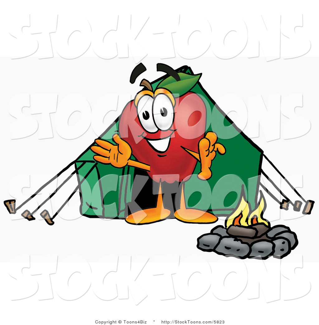 1024x1044 Stock Cartoon Of A Smiling Red Apple Character Mascot Camping