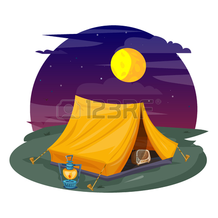 450x450 Tent Under A Night Sky. Camping Cartoon Vector Royalty Free