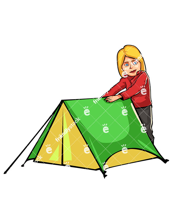 585x755 Woman Preparing Tent While C&ing Outdoors Cartoon Clipart  sc 1 st  ClipArtMag : cartoon tent images - memphite.com
