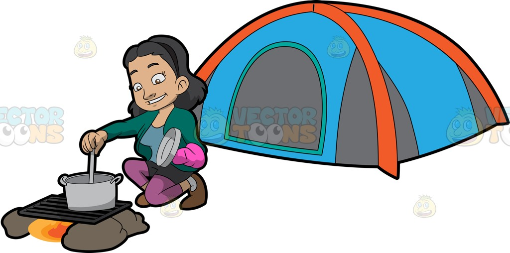 1024x508 A Female Camper Cooking Her Food Cartoon Clipart