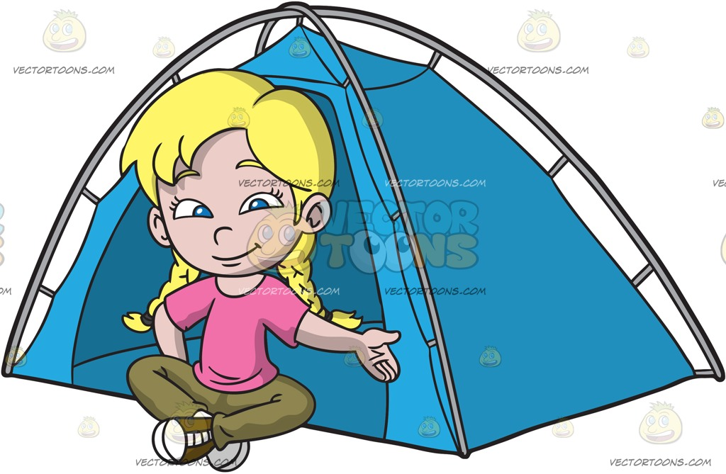1024x669 A Girl Sitting Outside Her Camping Tent Cartoon Clipart