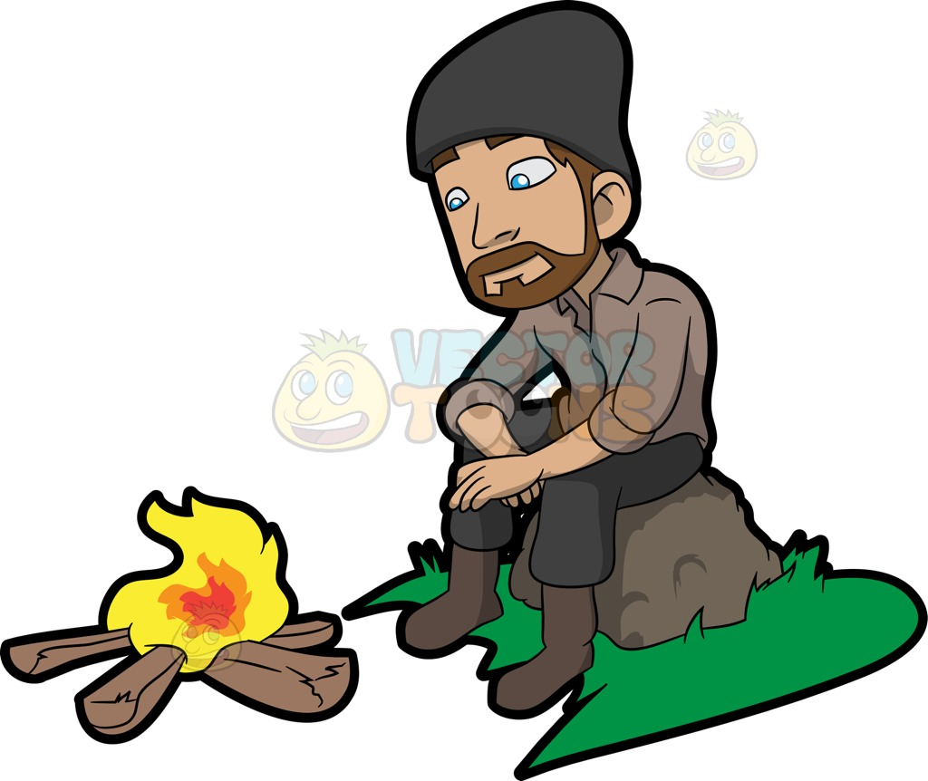 1024x862 A Man Getting Warmed Up In Front Of The Camp Fire Cartoon Clipart