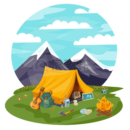 450x450 Camping Cartoon Vector Illustration. Tourist Tent In Mountains