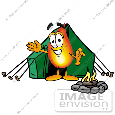 450x450 Clip Art Graphic Of A Fire Cartoon Character Camping With A Tent