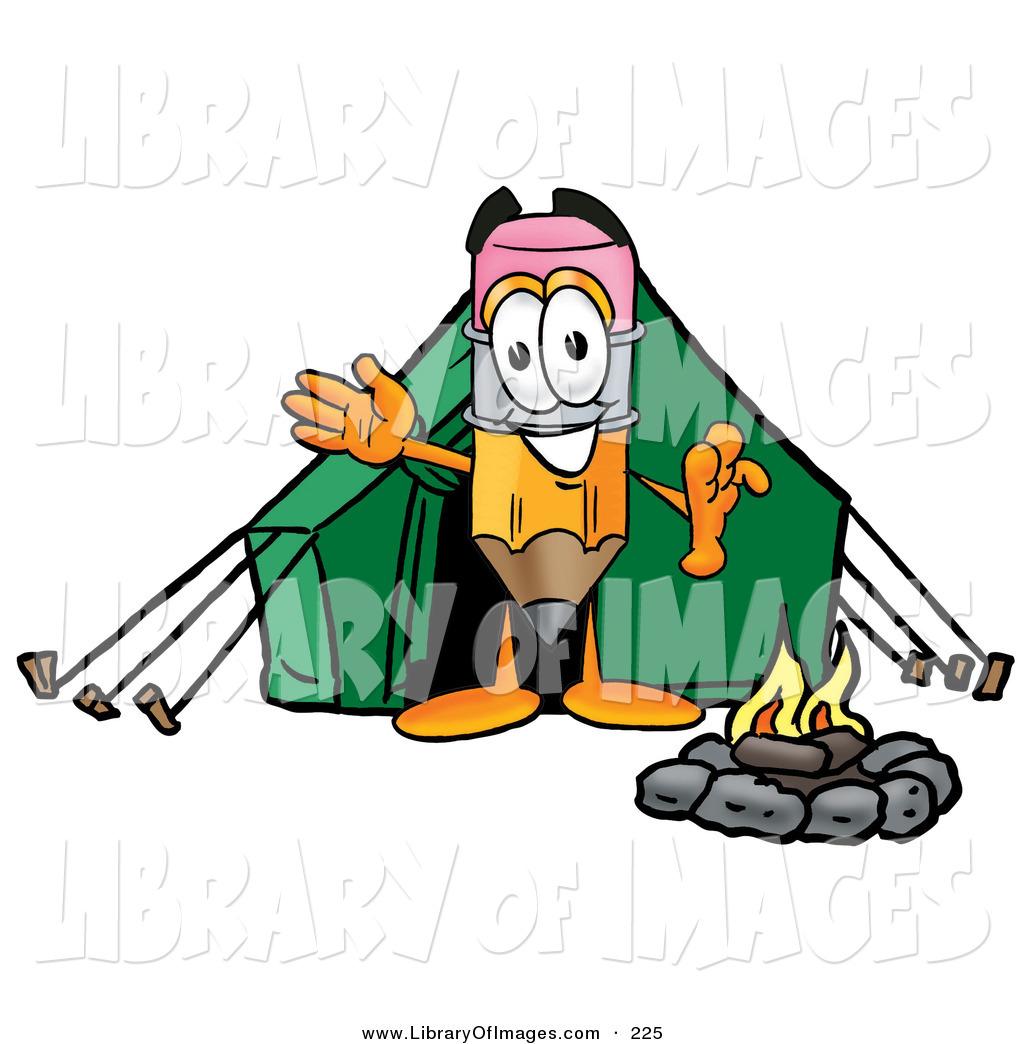 1024x1044 Clip Art Of A Sporty Pencil Mascot Cartoon Character Camping
