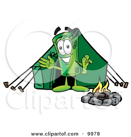 450x470 Clipart Picture Of A Rolled Money Mascot Cartoon Character Camping