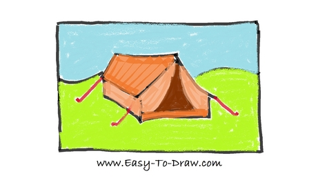 458x258 How To Draw A Cartoon Tent In Campground (Camping Place) For Kids