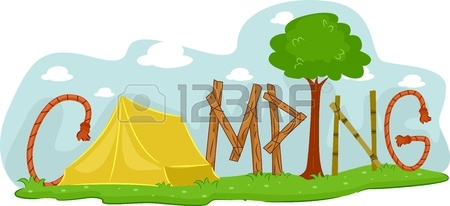 450x206 Illustration Featuring A Campsite Stock Photo, Picture And Royalty