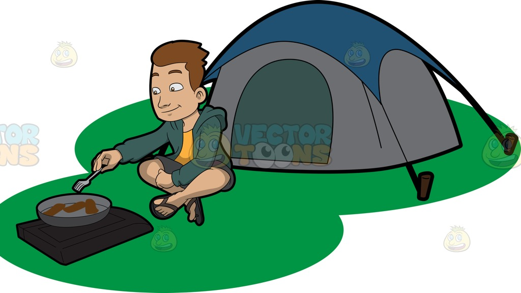 1024x576 A Camper Cooking His Meal Outside The Tent Cartoon Clipart