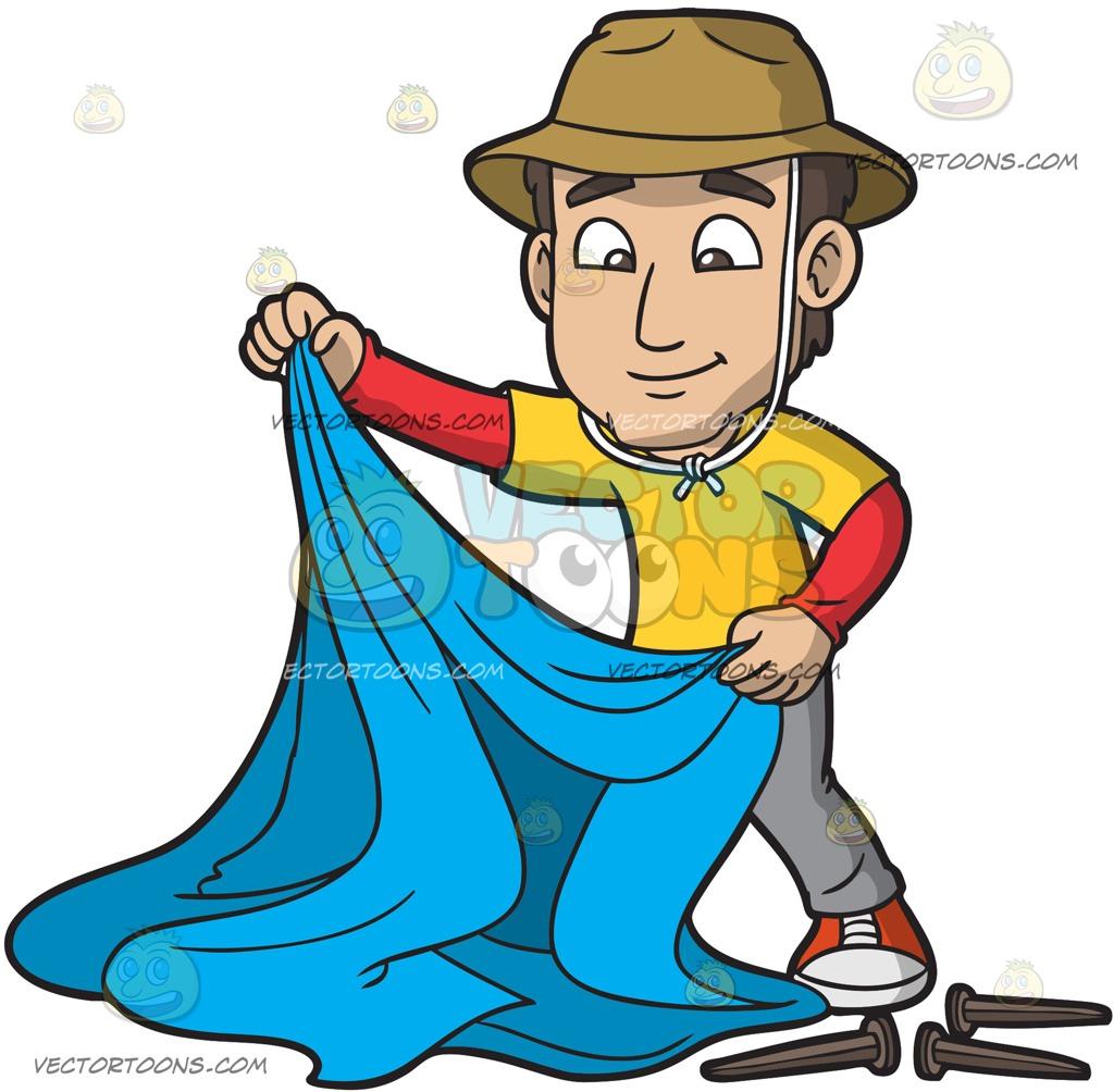 1024x1004 A Man Assembling His Camping Tent Cartoon Clipart