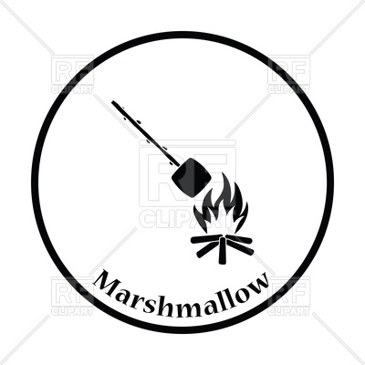 400x400 Camping Fire With Roasting Marshmallow Icon Royalty Free Vector