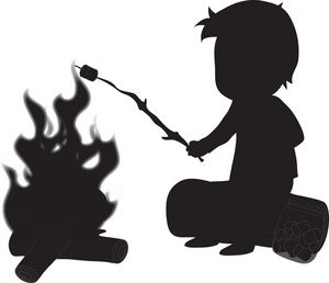 300x258 Campfire Camping Clipart Image Silhouette Of A Boy Roasting