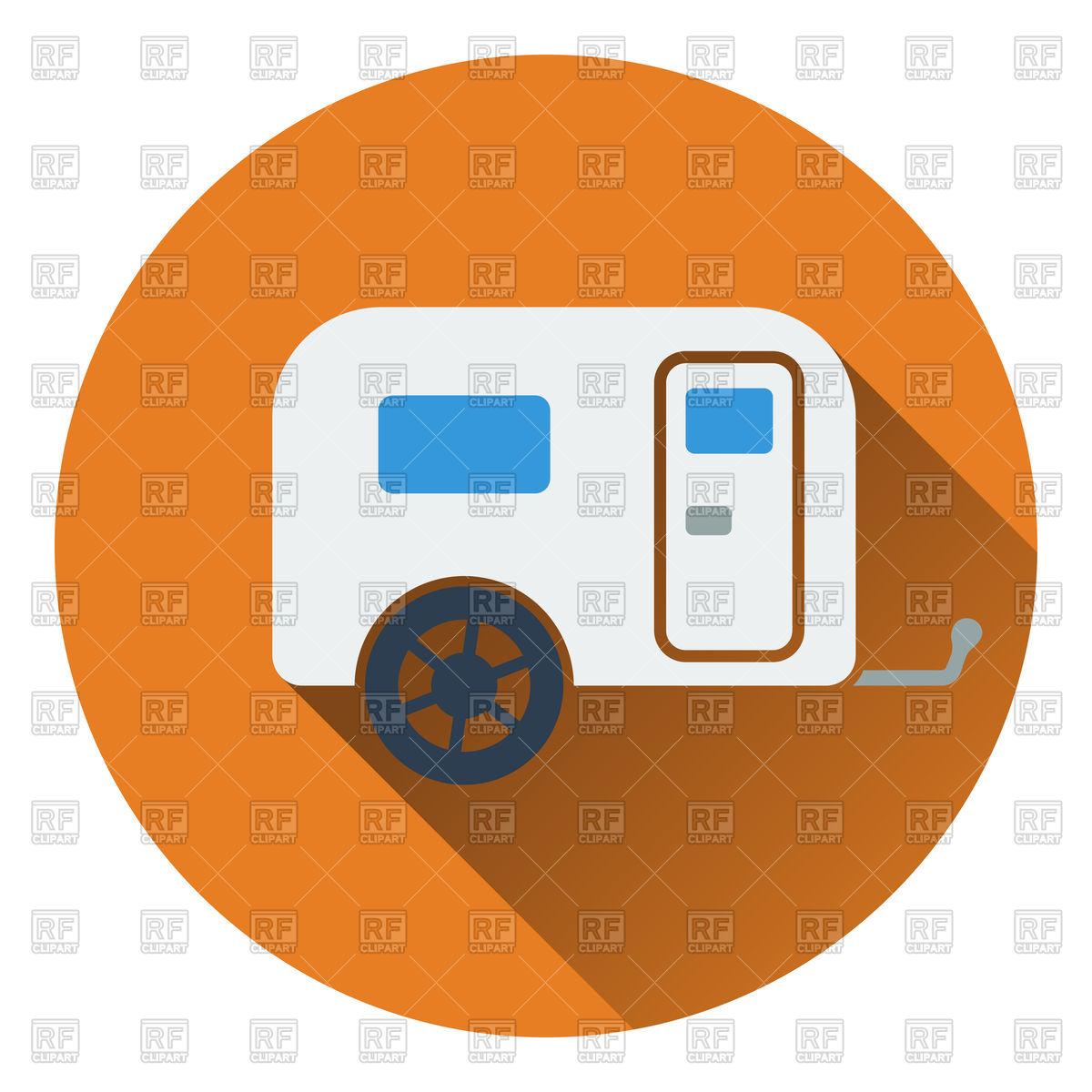1200x1200 Flat Design Of Icon Of Camping Family Caravan Car Royalty Free