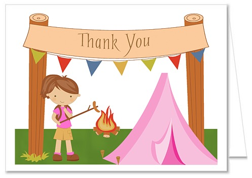 497x353 Camp Out Camping Girl Thank You Note Cards