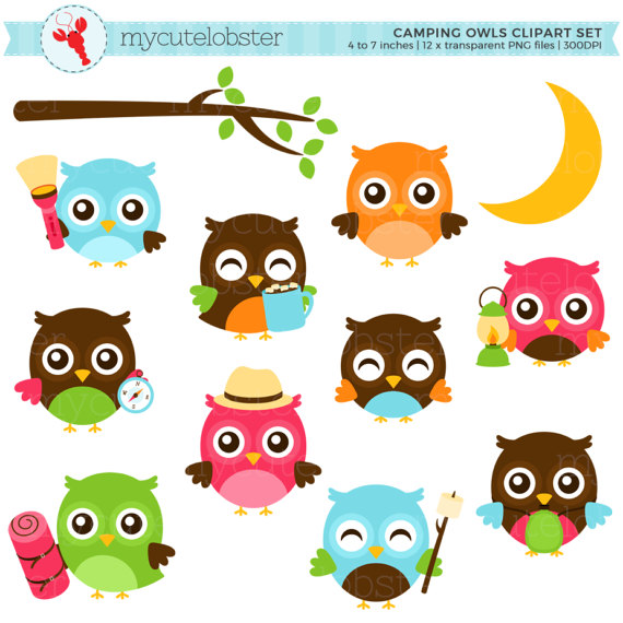 570x570 Camping Owls Clipart Set