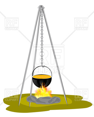 320x400 Camping Pot Over Bonfire On Tripod Royalty Free Vector Clip Art
