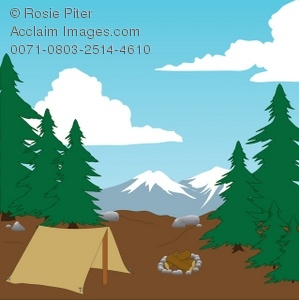 299x300 Illustration Of A Campsite In The Mountains