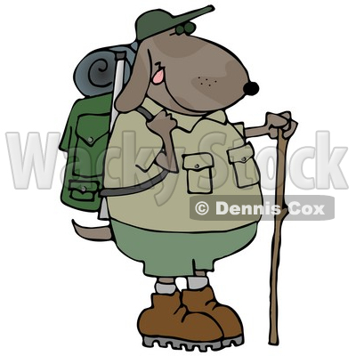 400x400 Using A Hiking Stick While Backpacking With Camping Gear Clipart