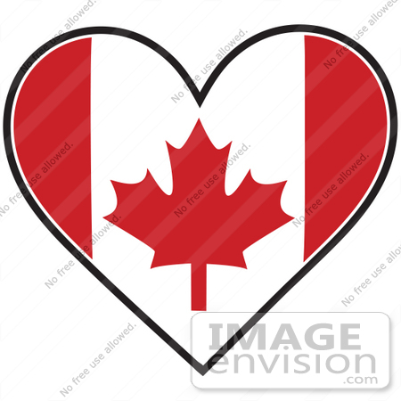 450x450 Clip Art Graphic Of A Canadian Heart Flag