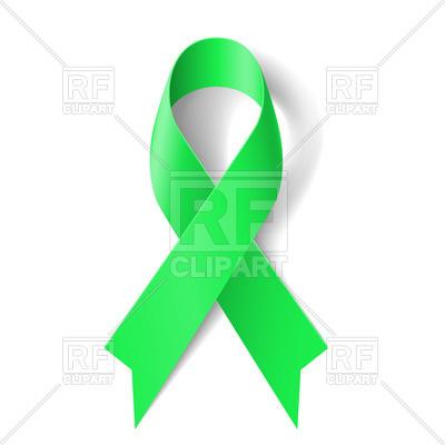 400x400 Kidney Cancer Awareness Green Ribbon Royalty Free Vector Clip Art