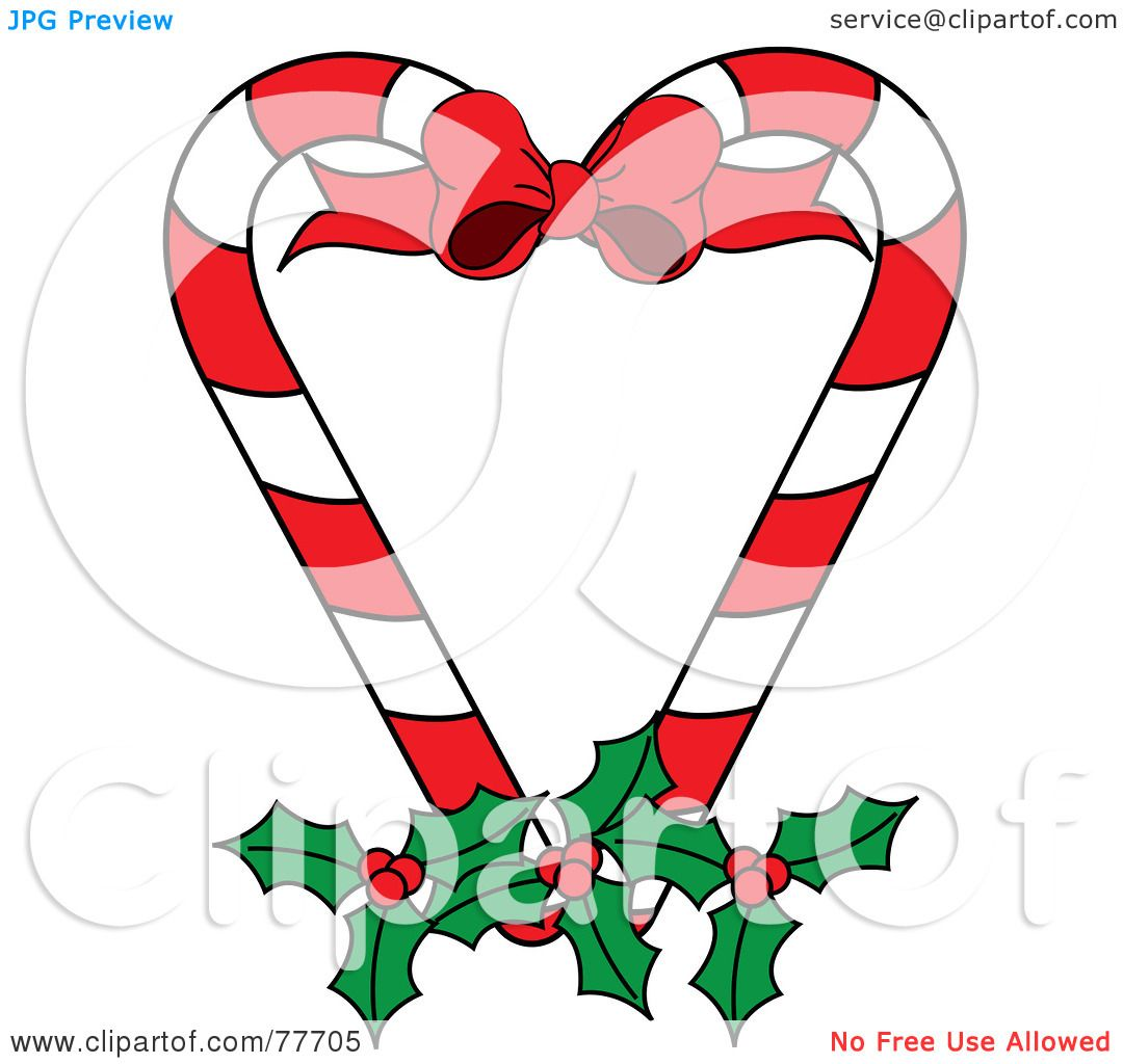 1080x1024 Cartoon Of A Christmas Peppermint Candy Cane With Holly