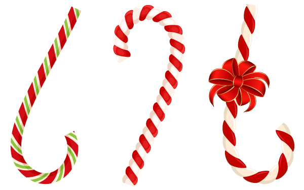 600x375 Free Vector Christmas Candy Cane With Red Bow, Vectors