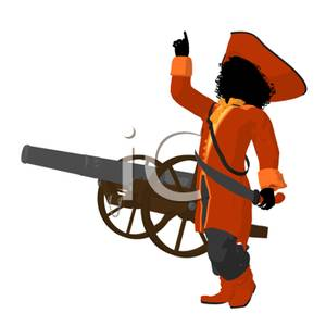 300x300 Pirate Captain Ordering A Firing Of A Cannon Clipart Picture