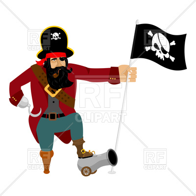400x400 Pirate With Flag And Cannon Royalty Free Vector Clip Art Image