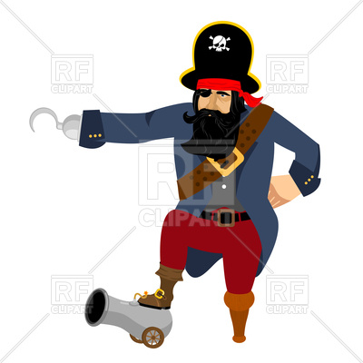 400x400 Pirate With Hook And Cannon Royalty Free Vector Clip Art Image