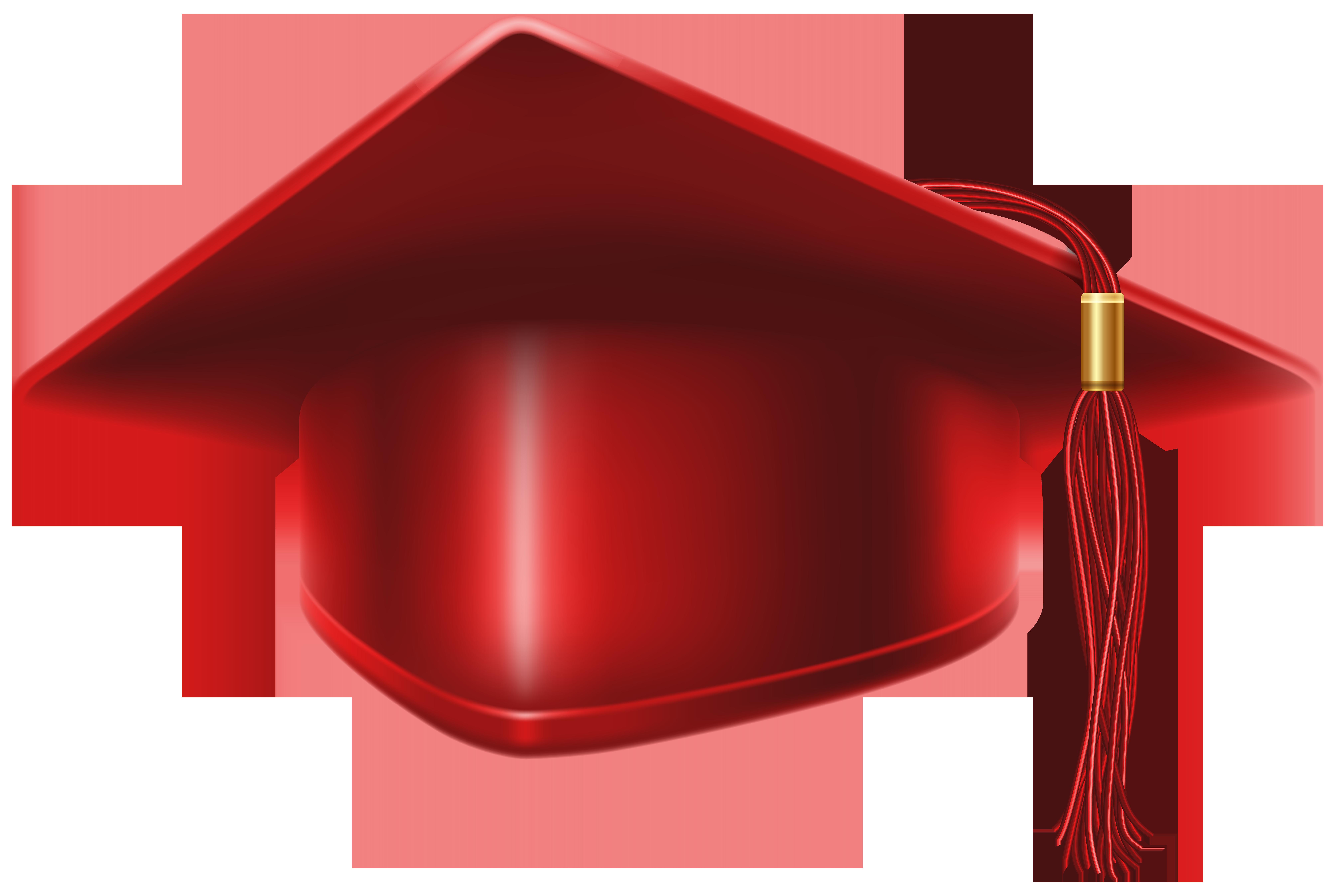8000x5390 Red Graduation Cap Clip Art Image