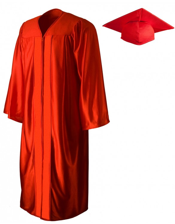 585x750 Shiny Red Cap Amp Gown Graduationsource