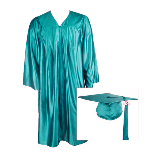 500x500 Teal Graduation Cap, Gown And Tassel