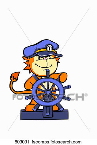 317x470 Clipart Of A Lion Sea Captain Steering A Ship's Helm 803031